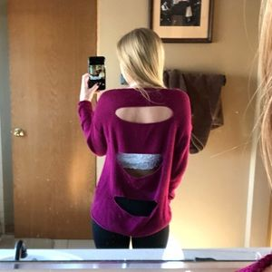 Sweaters - Fuchsia Open Back Sweater